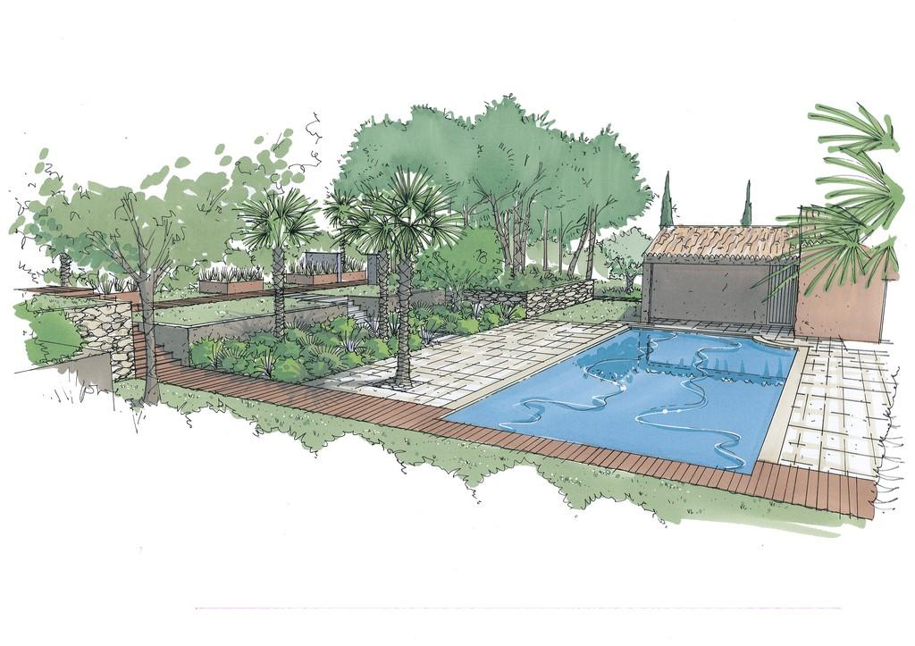 Conception et r alisation d un jardin m diterran en for Realisation paysagiste jardin